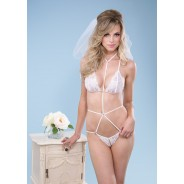 Leg Avenue-Crotchless lace teddy