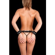 Ouch! - Adjustable Leather Handcuffs - Black