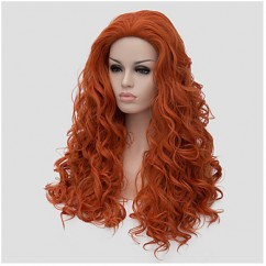 Capless Long Orange Wig