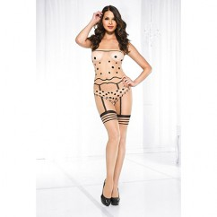 Music Legs - Polka Dot Print With Garterbelt Look Crotchless Bodystocking