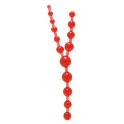7 Creations - Triple Anal Pleasure Beads - Clear Red