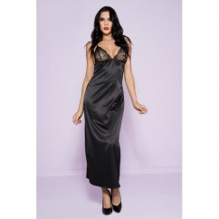 Music Legs - Long Satin Gown With Lace Cups