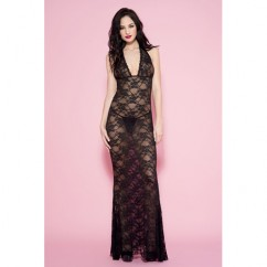 Music Legs - Long Lace Halterneck Dress