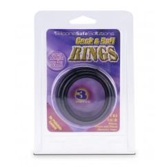 Cock & Ball Rings 3 Pieces Black