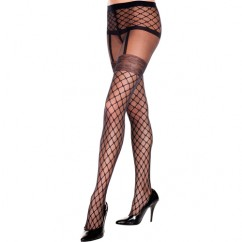Music Legs - Pantyhose With Fishnet Garter Look