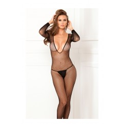 Deep- V Longsleeve Fishnet Bodystocking