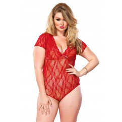 Leg Avenue – Plus Size Floral Lace Backless Teddy