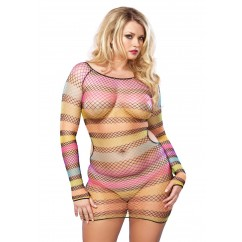Leg Avenue – Plus Size Rainbow Striped Minidress