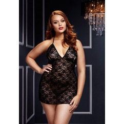 Plus Size Lace Neglige Black
