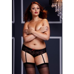 Plus Size Black Crotchess Boyshort Panty Black