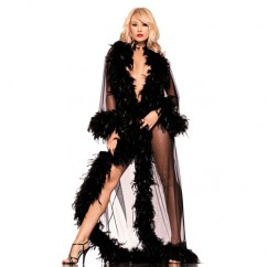 Be Wicked - Full-length Robe With Feather Trim Black
